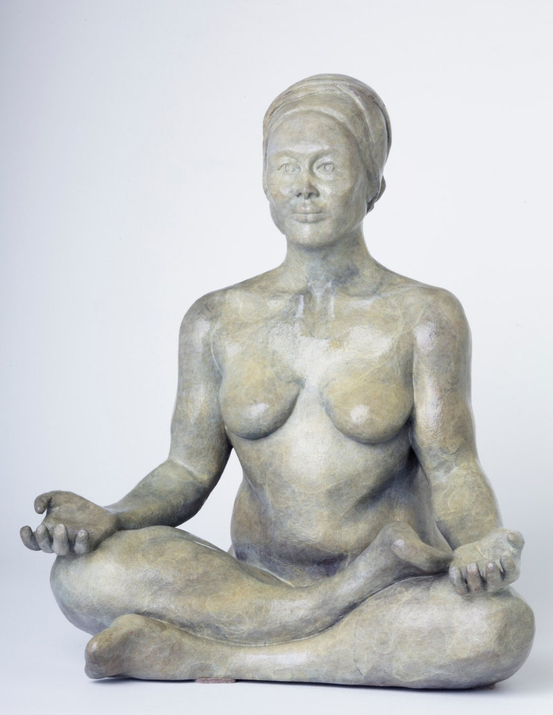 Cast bronze female seated sculpture Edition 1 of 12 image 0