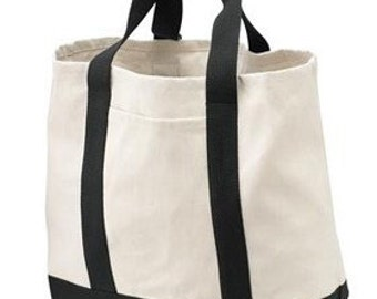 Black and Natural Two Tone Cotton and Twill Tote with Personalized Embroidery Monogram
