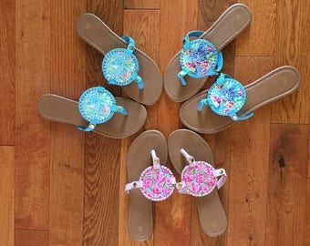 Lily Inspired Monogrammed interchangeable Medallion Sandals