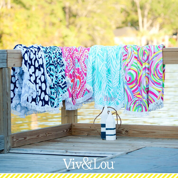 Sand Circle Beach Towels And Free Personalized Embroidery Monogram