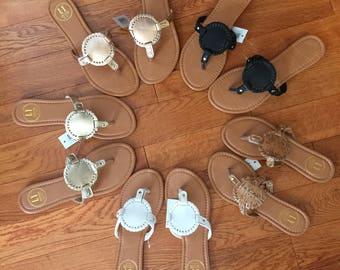 Monogrammed interchangeable Medallion Sandals