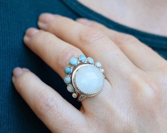 Moonstone Turquoise Crown Ring Statement Bohemian Multi Stone Halo Gemstone Stacking Rings Layering Rings Solitaire Silver Boho Bridal Gifts