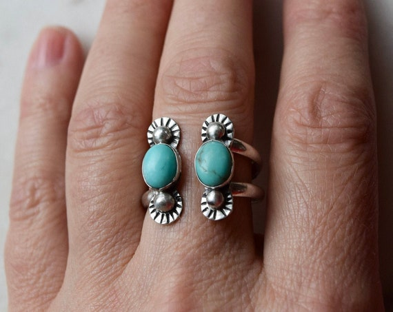 Turquoise Ring Cuff Ring Adjustable Ring Turquoise Jewelry Statement Ring Recycled Sterling Silver Boho Jewelry December Birthstone Rings