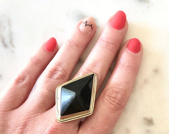 Obsidian Statement Ring Black Brass Silver OOAK Kite Ring Pyramid Black Stone Ring Geometric Jewelry Alternative Jewelry Gifts for Her Punk