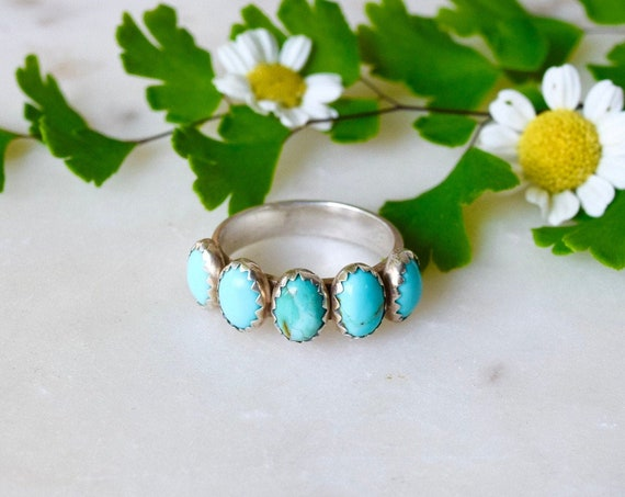 Turquoise or Moonstone Ring Multi Stone Silver Ring Five Stone Ring Natural Stone Boho Stacking Rings Layering Rings Blue Stone Birthstone