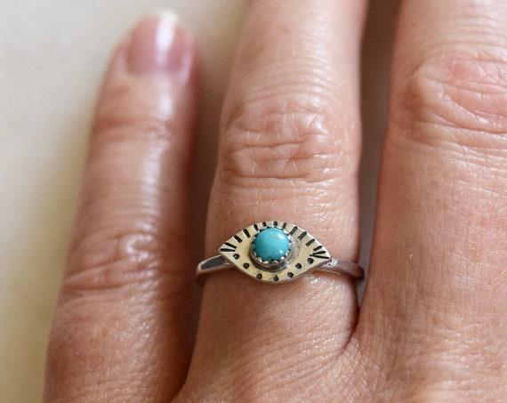 Eye Ring Evil Eye Turquoise Labradorite Malachite Dainty Ring Tiny Ring Protection Ring Gold Eye Ring Silver Eye Ring Holiday Gift Stacking
