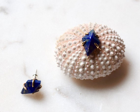 Lapis Lazuli Stud Earring 14k Gold Post Earring Blue Stud Earring Natural Stone Minimal Dainty Earrings Holiday Gifts Alternative Bridal