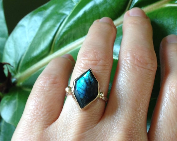Labradorite Gold Ring 14k Sterling Silver Unique Engagement Solitaire Boho Geometric Natural Alternative Engagement Bridal Gifts for Her