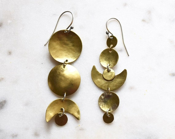 Moon Phases Earrings Brass Silver Celestial Boho Statement Large Earrings Big Earrings Circles Geometric Crescent Gifts for Her Mismatched
