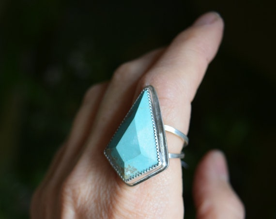 Turquoise Statement Ring Big Turquoise Rings Unique Boho Talisman One of a Kind Bohemian Jewelry Tribal Recycled Silver Large Ring Gifts
