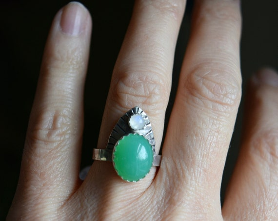 Chrysoprase Moonstone Ring Crown Ring Statement Ring One of a Kind Ring Gifts for Her Unique Rings Green Rings Moonstone Rings Holiday Gifts