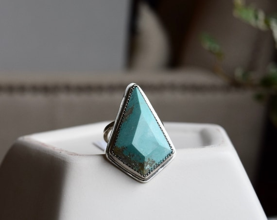 Turquoise Statement Ring Boho Talisman One of a Kind Big Turquoise Rings Boho Jewelry Tribal Recycled Sterling Silver Large Ring Gifts