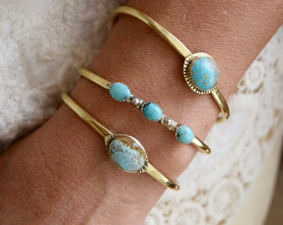 Turquoise Cuff Bangle Bracelet Gold Bangle Silver Bangle Cuff Bracelet Layering Bracelet Bohemian Jewelry Adjustable Brass Cuff Gift for Her