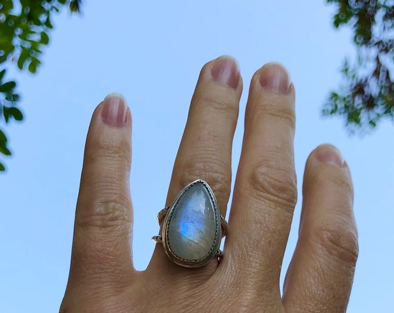 Rainbow Moonstone Ring Drop Ring Pear Ring Boho Rings Unique Rings Custom Rings Natural Gemstone Rings Gifts For Her Unisex Rings OOAK