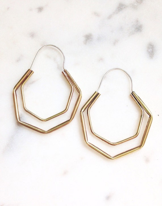 Hexagon Hoop Earrings Brass Silver Boho Jewelry Geometric Modern Gold Gifts for Her Holiday Gifts Statement Gypsy Dangle Earring Big Hoop