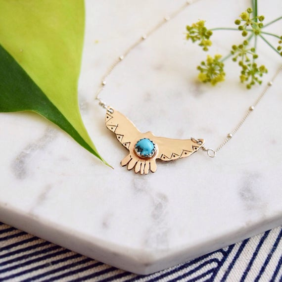 Hawk Necklace Personalized Pendant Turquoise Jewelry Custom Name Necklace Eagle Hand Stamped Boho Jewelry Gold Silver Free/Wild Bird Eco
