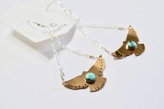 Hawk Earrings Turquoise Jewelry Boho Jewelry Boho Earrings Festival Gypsy Bird Jewelry Earthy Recycled Silver Dangle Earrings Eagle Gold