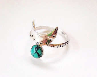 Crescent Moon Ring Turquoise Ring Moon Phase Jewelry Celestial Jewelry Turquoise Jewelry Boho Jewelry Recycled Festival Jewelry Astrological