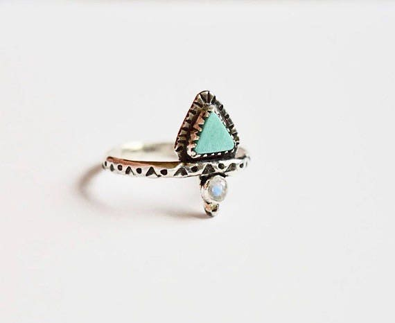 Turquoise Triangle Ring Turquoise Jewelry Moonstone Jewelry Boho Jewelry Minimal Festival Jewelry Gypsy Jewelry Gifts for Her Geometric