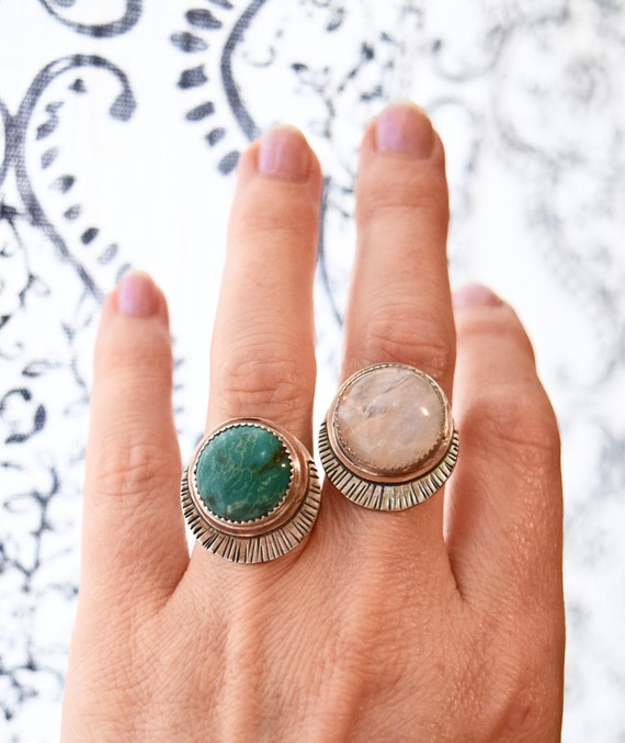 Turquoise Moonstone Ring Statement Ring New Moon Ring Boho Celestial Moon Phase Jewelry Sustainable Silver Bronze Talisman Gifts for Mom