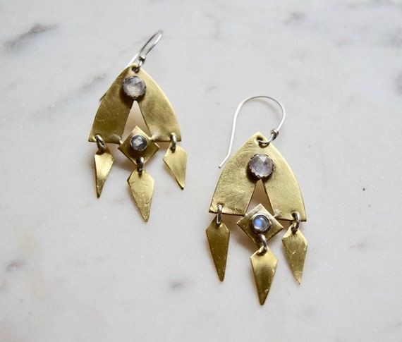 Moonstone Statement Earrings Dangle Earrings Brass Silver Gold Boho Gifts for Her Geometric Drop Earrings Big Earrings Gypsy