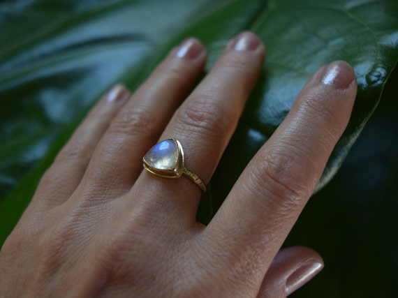 Moonstone Gold Ring 14k Solid Gold Ring Rainbow Gifts for Her Valentine's Gifts Moonstone Boho Minimal Jewelry Triangle Trillion Recycled