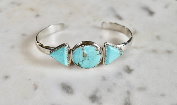 Turquoise Cuff Bracelet Sterling Silver Triangle Multi Stone Boho Bracelet Natural Stone Recycled Silver One of a Kind Jewelry Gifts unisex