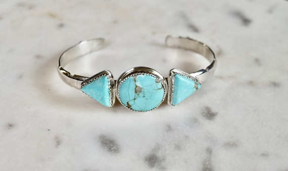 Turquoise or Moonstone Cuff Bracelet Sterling Silver Triangle Multi Stone Boho Bracelet Natural Stone Recycled Silver OOAK Jewelry Unisex