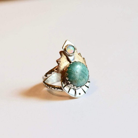 Amazonite Opal Ring Statement Rings Boho Silver Gemstone Rings Goddess Jewelry Boho Jewelry Multi Stone Ring Recycled Crown Ring Unique OOAK