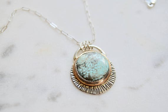 Turquoise Silver Necklace New Moon Boho Statement Jewelry Celestial Necklace Earthy Gypsy Bronze Moon Phase Jewelry Gifts for Her Bohemian