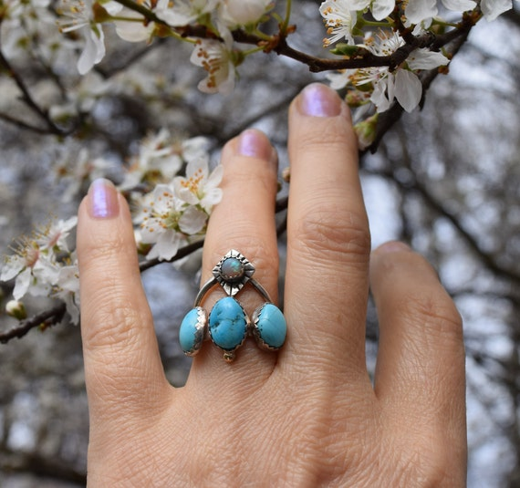 Turquoise Opal Ring Boho Jewelry Birthstone Rings Sterling Silver Multi Stone Rings Celestial Jewelry Boho Ring Holiday Gifts for Her Gypsy