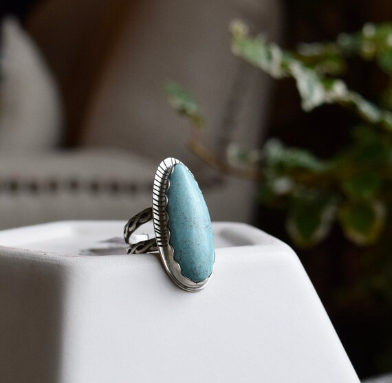 Turquoise Ring Silver Statement Boho Talisman One of a Kind Big Turquoise Rings Boho Jewelry Tribal Recycled Large Ring Gifts for Her Unique