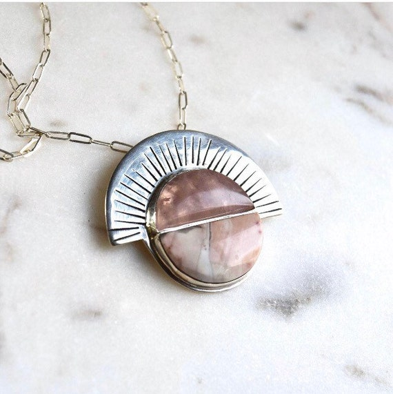 Rose Quartz Imperial Jasper Pendant Necklace Statement Silver Boho Jewelry Pink Natural Stones Gemstone Jewelry Geometric Holiday Gifts OOAK