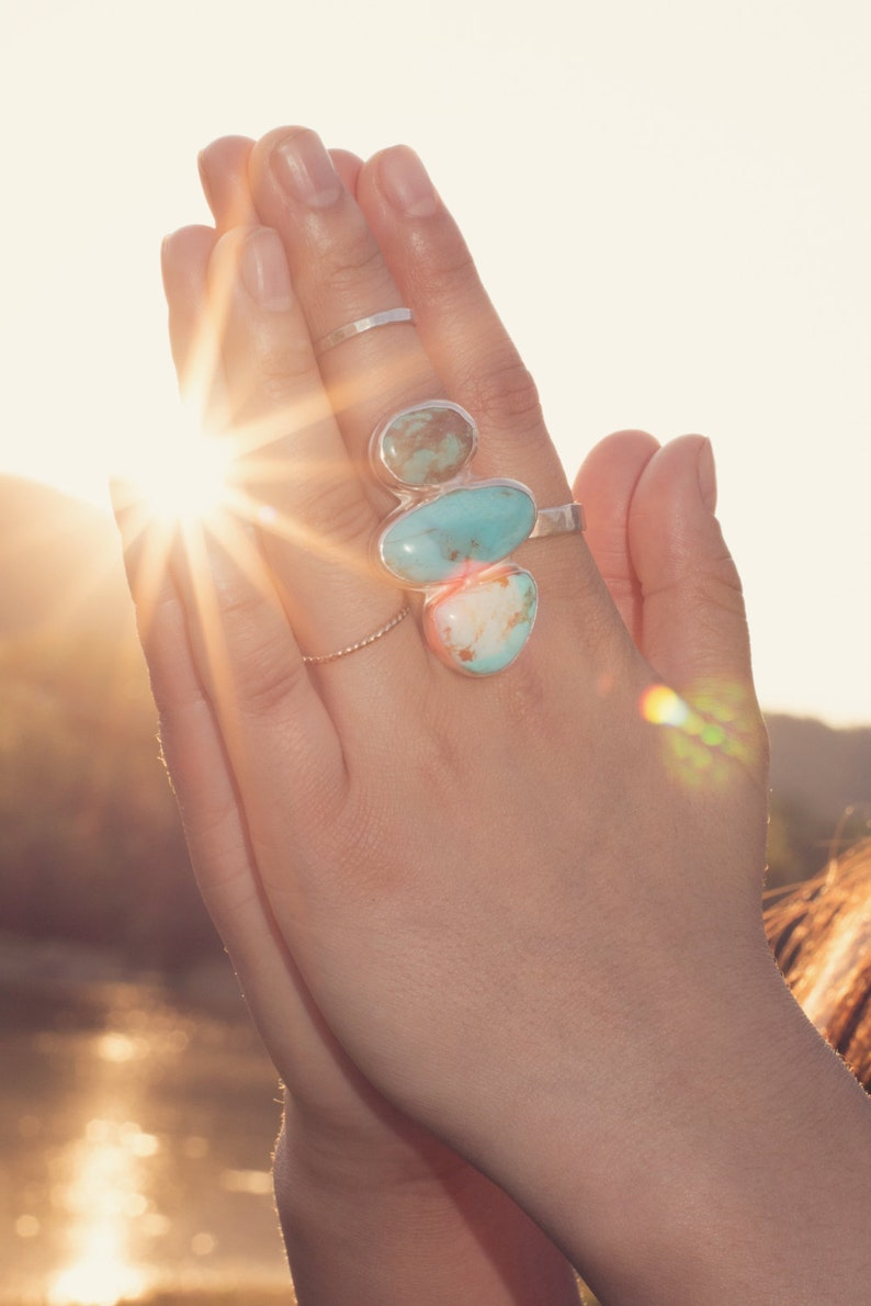 Turquoise Multi Stone Ring Statement Rings Large Turquoise Jewelry Boho Birthstone Jewelry Big Rings Gifts for Her Talisman One of a Kind