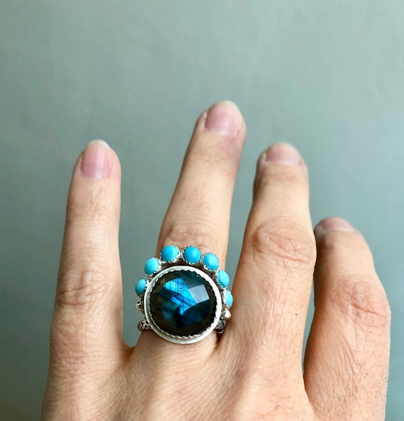 Labradorite Turquoise Halo Ring Statement Gemstone Bohemian Multi Stone Stacking Rings Layering Rings Solitaire Silver Boho Bridal Gifts