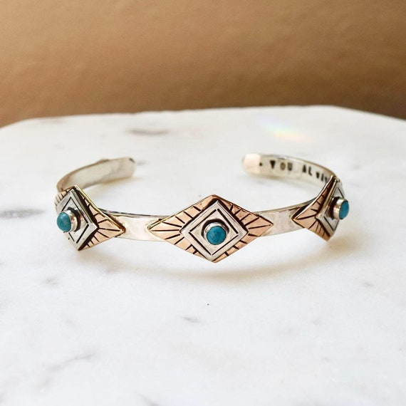 Silver Cuff Bracelet Turquoise Opal Moonstone Lapis North Star Boho Recycled Sterling  Bronze Celestial Modern Gypsy Personalized Jewelry