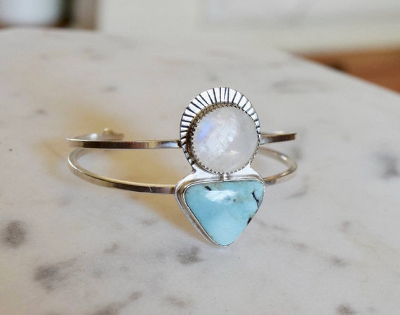 Moonstone Turquoise Labradorite Cuff Bracelet Boho Statement Jewelry Halo Moon Jewelry Sterling Silver Bangle Gypsy Gifts for Her Celestial