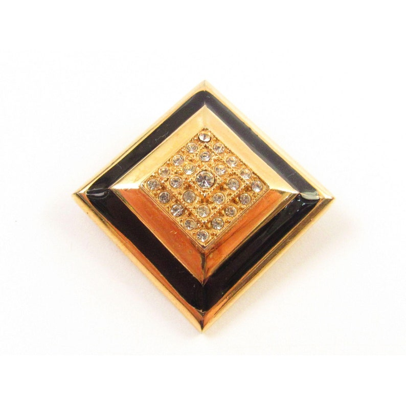 Sarah Coventry Gold Tone Geometric Brooch With Rhinestone And Enamel Accents JA7 027