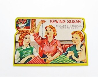 1950's Sewing Needle Book, Sewing Susan Needle Book In Original Sleeve