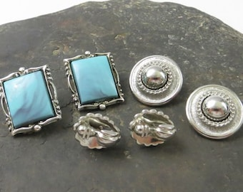 Trio of Vintage Silver Tone and Faux Turquoise Earrings