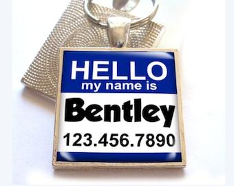 Hello My name is pet tags custom pet id tag unique pet id tag dog tag cat tag