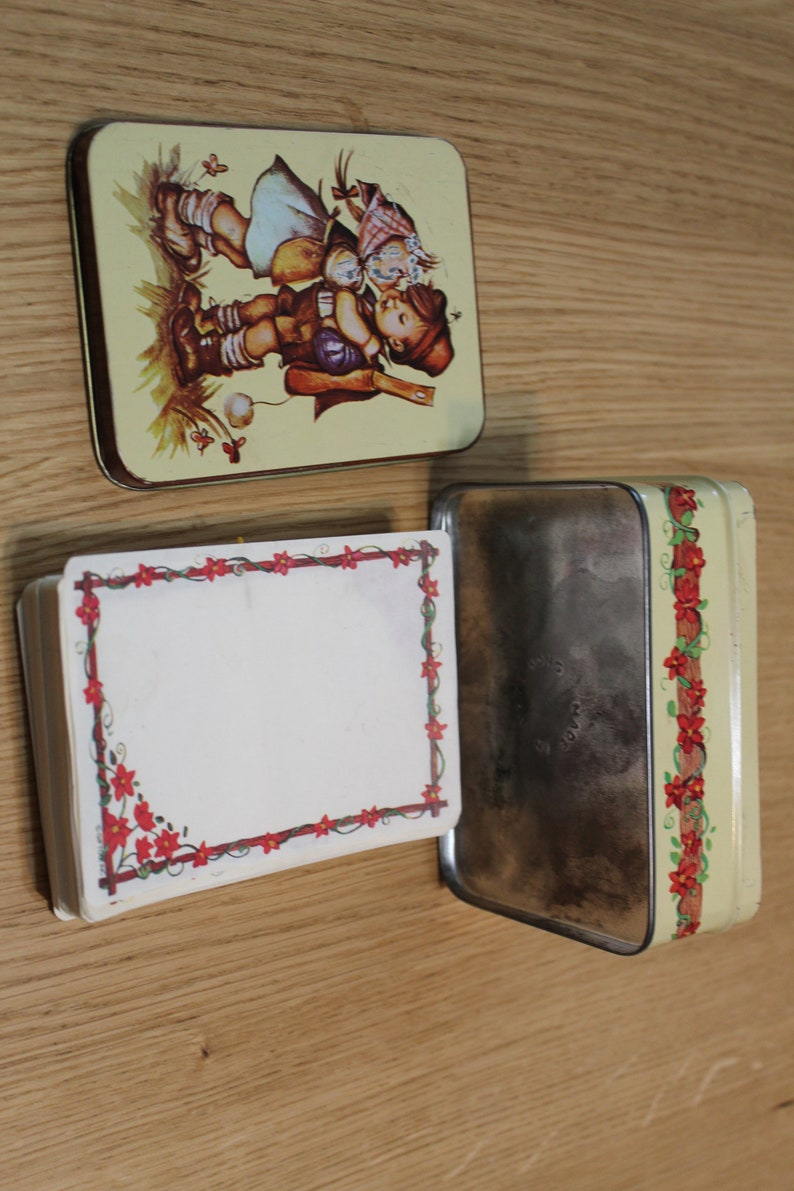 Vintage Hummel Look Boy and Girl Tin with Note Cards Gift Co
