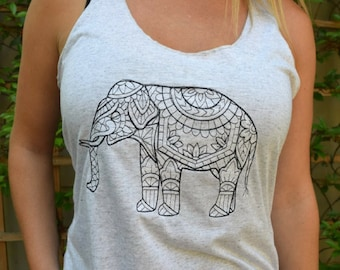Yoga Tank Top, Aesthetic Clothing, Embroidered Elephant Racerback Shirt