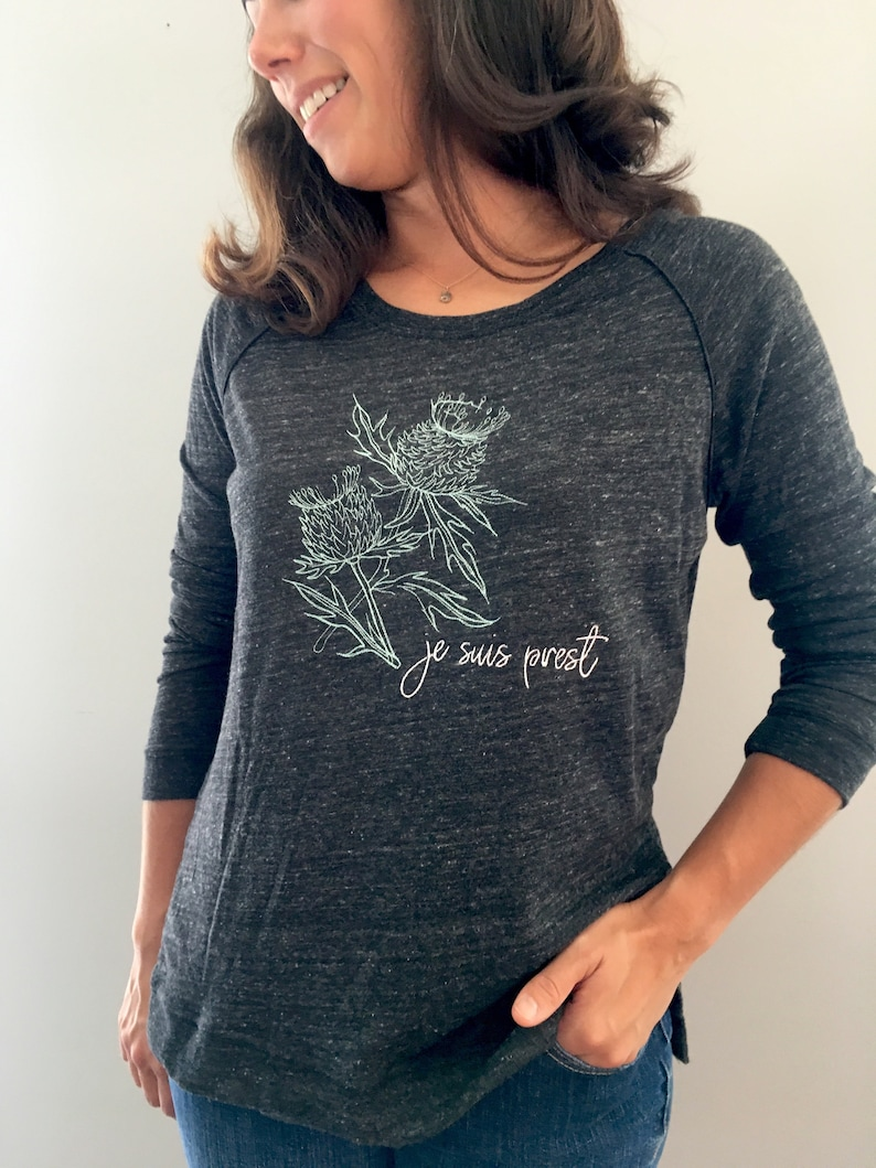 Embroidered Thistle Pullover Je Suis Prest Sweater Clan Fraser