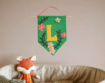 Custom Initial Wall Banner in Green Floral Design