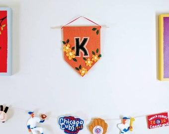 Custom Initial Wall Banner in Orange Floral Design