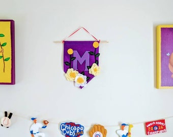 Custom Initial Wall Banner in Purple Floral Design
