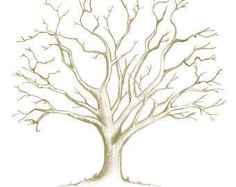 Printable fingerprint tree Hand-Drawn Customizable | Etsy