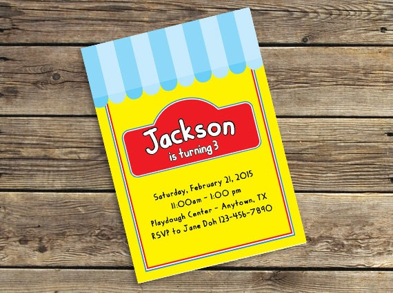 play dough printable downloadable birthday party invitation etsy