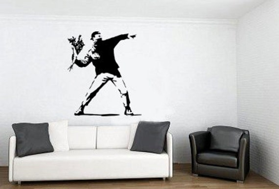 Striking intriguing modern art Banksy Flower Thrower wall stickers decal NEW UK